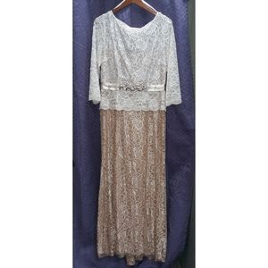 Long-Sleeve Neutral-colored Lace Maxi-dress